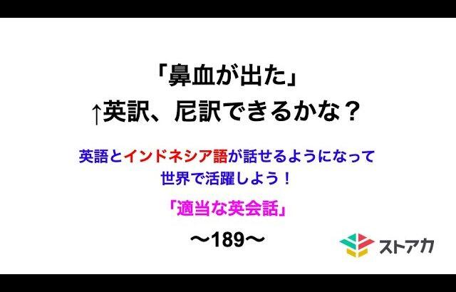 適当な英会話〜189〜「鼻血が出た」←英訳、尼訳できますか?